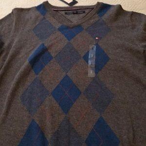 Argyle pullover v neck grey blue